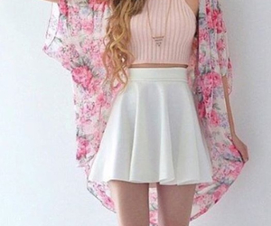 flowers, outfit, and pink image