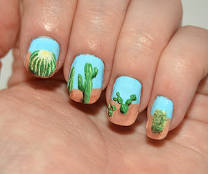 nail art, cactus nails, and love image