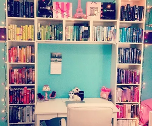 books, colours, and organization image