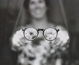 analog, glasses, and black and white image