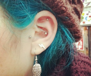 piercing, blue hair, and girl image