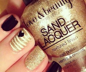 nails, gold, and nail polish image