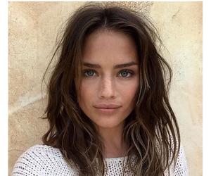 beautiful, blue eyes, and brunette image