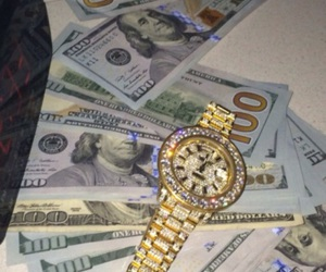 money, watch, and gold image