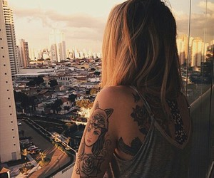 girl, tattoo, and sunset image