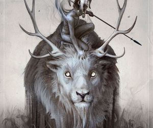 black and white, chimera, and deer image