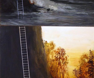 art, stair, and trees image