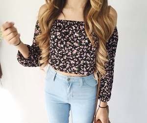 fashion, flowers, and jeans image