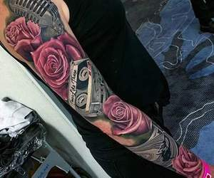 rose, tattoo, and microphone image