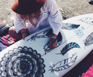 beach, surfboard, and art image