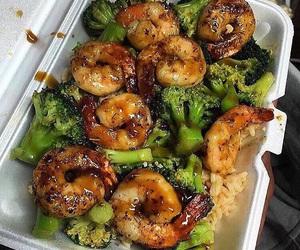 food, shrimp, and broccoli image