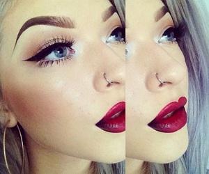 makeup, lipstick, and eyebrows image
