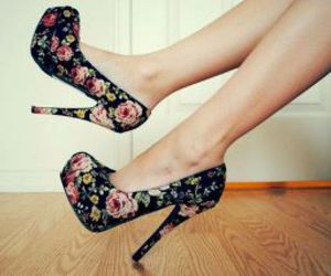 floral, flowers, and heels image