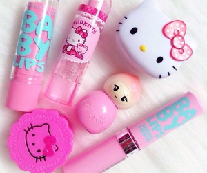 hello kitty, pink, and make up image