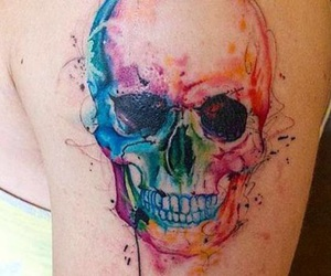 tattoo, skull, and watercolor image