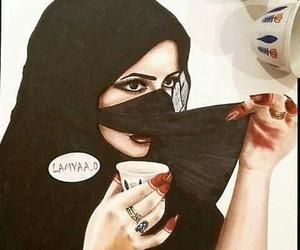 arab, drawing, and hijab image