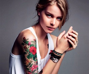 tattoo, girl, and flowers image