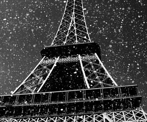 paris, snow, and eiffel tower image