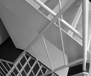 geometric, stairs, and black and white image
