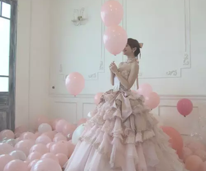 pink, dress, and balloons image
