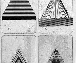 black and white, triangle, and triangles image