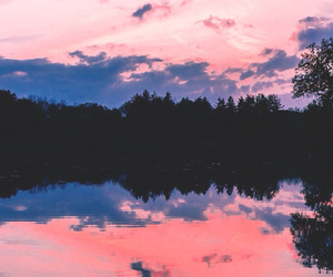 sunset, forest, and lake image