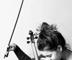 music, girl, and violin image