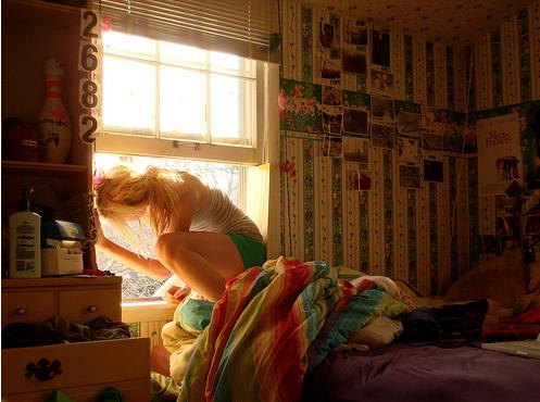 girl, window, and room image
