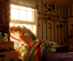 girl, window, and room image