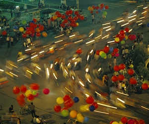 balloons, road, and street image