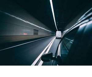 cars, city, and tunnel image