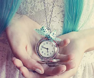 blue, clock, and girl image