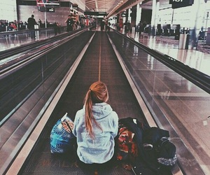 girl, travel, and airport image