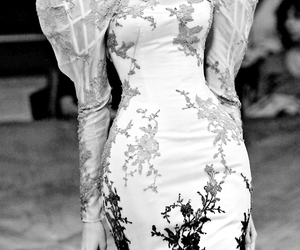 black and white, dress, and white image
