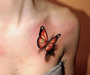 butterfly, shadow, and tattoo image