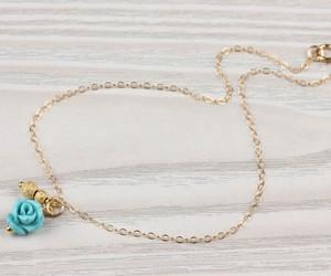 turquoise bracelet, rose gold anklet, and rose bracelet wedding image