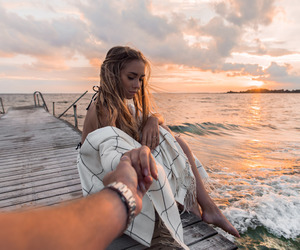 girl, sea, and sunset image