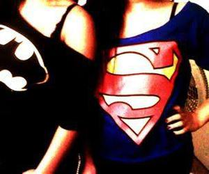 batman, superman, and girl image