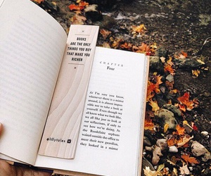 book, fall, and bookmark image