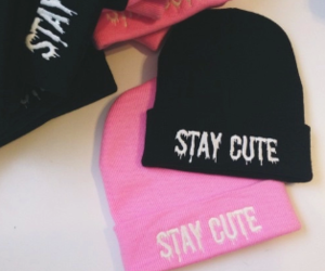 cute, black, and pink image