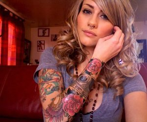 blond, pretty, and tattoo image