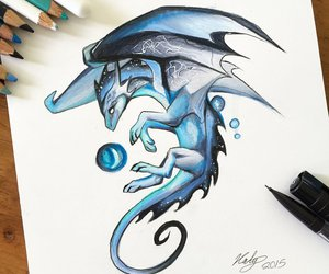 art, dragon, and draw image