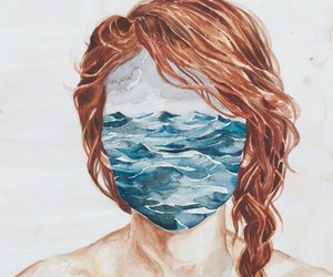 art, portrait, and sea image