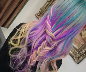 colorfull, girl, and hair image