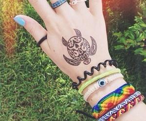 tattoo, bracelet, and turtle image