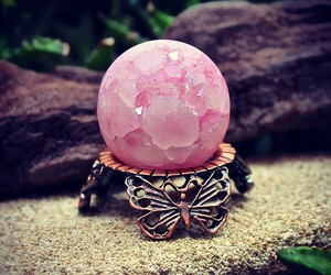 pink, ball, and crystal image