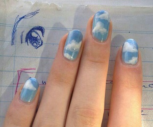 nails, clouds, and sky image