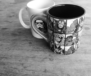 black and white, coffee, and geek image