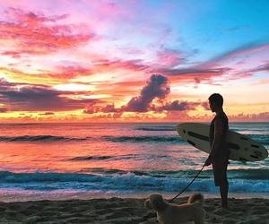 beach, boys, and sunset image