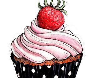 cake, cupcake, and strawberry image